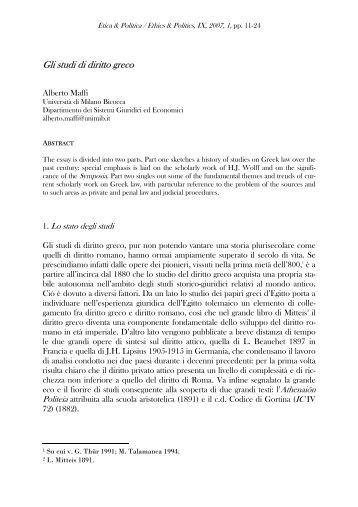 Gli studi di diritto greco - OpenstarTs