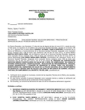 Polic a nacional direccion de sanidad seccional de for Ministerio policia nacional