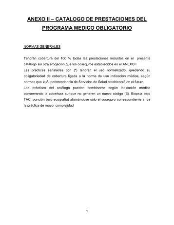 anexo ii – catalogo de prestaciones del programa medico obligatorio