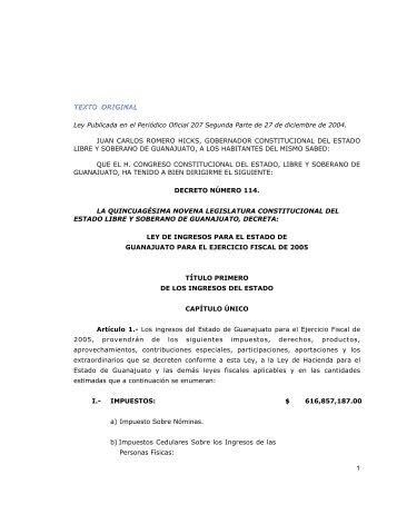 Ley de Ingresos para el Estado de Guanajuato para el ... - Celaya