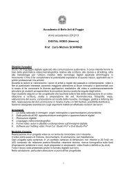 Programma digital video biennio – a.a. 2012 13 - Accademia di ...
