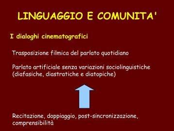 LINGUAGGIO E COMUNITA'