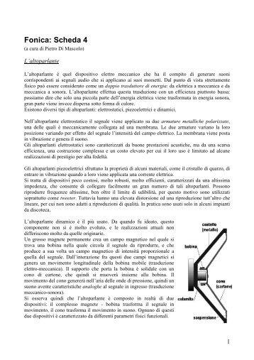 Scheda 4 - altoparlanti (1.186 Kb) - Studi Sonori Roma