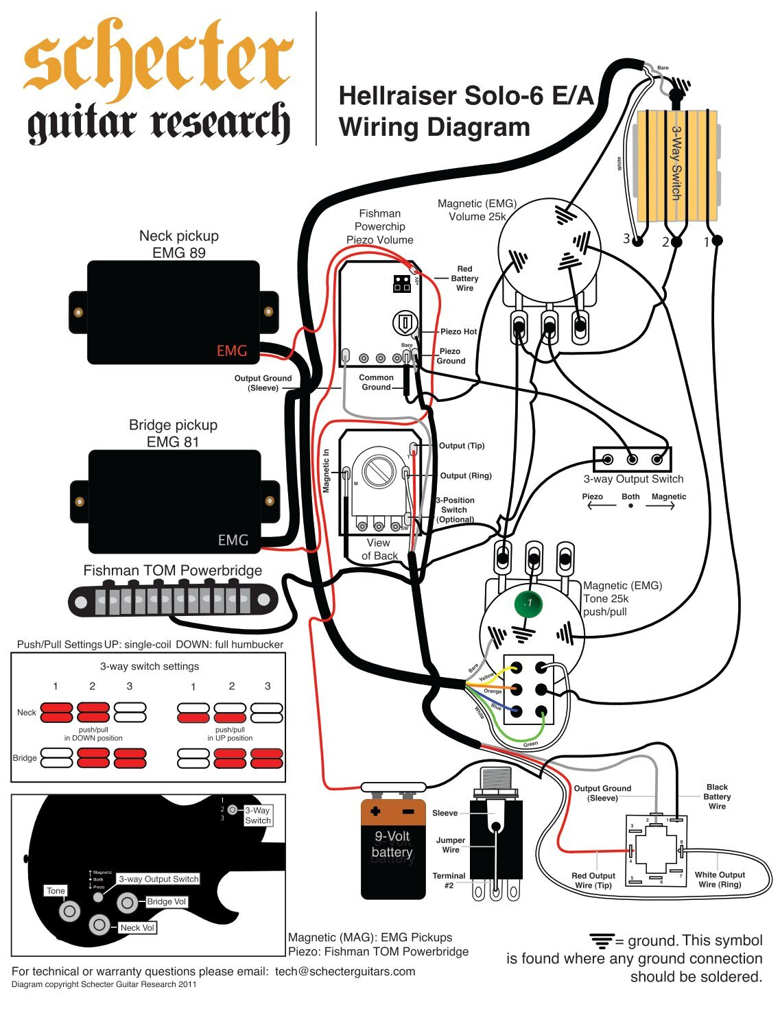 Emg Lect Wiring Diagram Ls 60 Harness Bill Lawrence L500xl Aprilia For Active Hellraiser Solo 6 Schecter Guitars