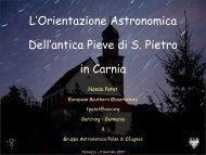L'Orientazione Astronomica Dell'antica Pieve di S. Pietro in Carnia