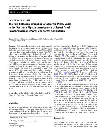 The mid-Holocene extinction of silver fir (Abies alba ... - Plant Sciences