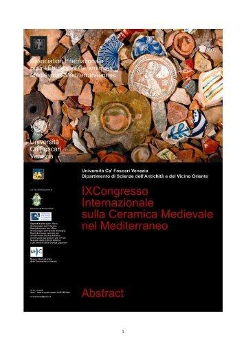 Abstracts - Archeologia Medievale Venezia