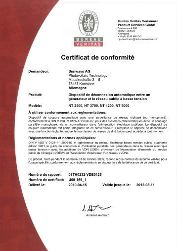 certificat de conformit mod le 4 cegibat. Black Bedroom Furniture Sets. Home Design Ideas