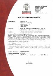 Certificat de conformité - Schoenau AG