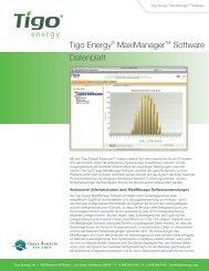Tigo Energy® MaxiManager™ Software Datenblatt - Schoenau AG