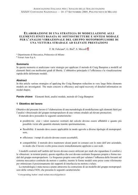 Elaborazione di una strategia di modellazione agli elementi ... - AIAS