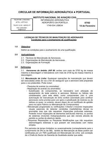 circular técnica de informação - Instituto Nacional de Aviação Civil