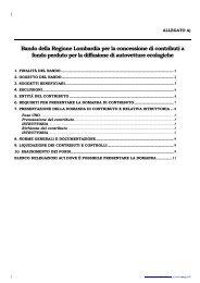 Bando della Regione Lombardia per la concessione di contributi a ...