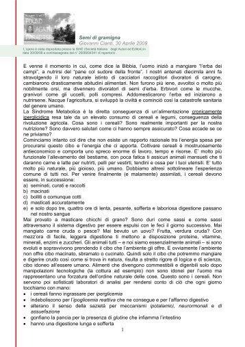 1 Semi di gramigna Giovanni Cianti, 30 Aprile 2009 E venne il ...