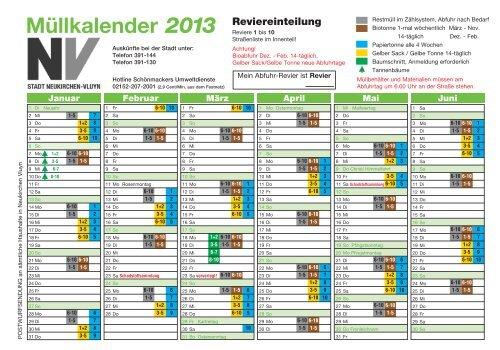 Müllkalender 2013 - Schönmackers Umweltdienste GmbH & Co KG