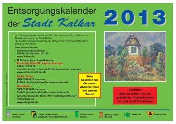der Stadt Kalkar - Schönmackers Umweltdienste GmbH & Co KG