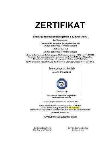 Anlage 1 zum Zertifikat 1