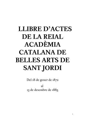 llibre d'actes de la reial acadèmia catalana de belles arts de sant jordi