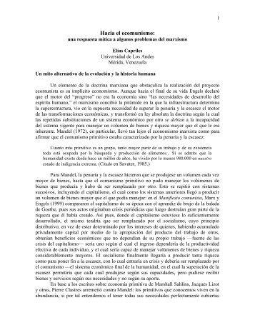 Hacia el ecomunismo: - Web del Profesor - Universidad de Los Andes