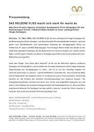 Pressemeldung DAS GOLDENE VLIES macht sich stark für markt.de
