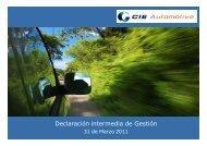 2011 Marzo primer Trimestre informe de ... - Cie Automotive