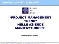 Il Progetto nelle Aziende Manifatturiere - My LIUC