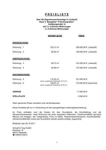 P R E I S L I S T E - Schopf & Teig GmbH