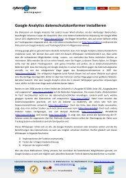 Google Analytics datenschutzkonformer ... - Cyberpromote Gmbh
