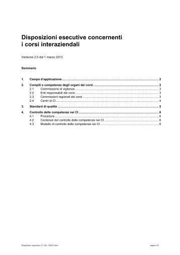 Disposizioni esecutive concernenti i corsi interaziendali - Swissmem ...