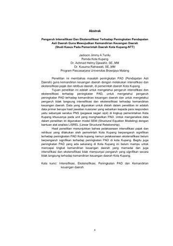 Pengaruh Intensifikasi Dan Ekstensifikasi Terhadap Peningkatan ...
