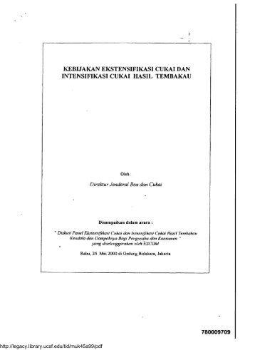 kebijakan ekstensifikasi cukai dan intensifikasi cukai hasil tembaka u