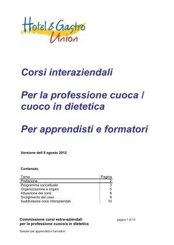 Corsi interaziendali Per la professione cuoca / cuoco in dietetica Per ...