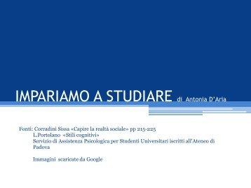 IMPARIAMO A STUDIARE - Antonia D'aria