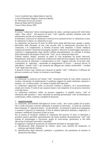 La valutazione nel processo di aiuto - Studio BiFi