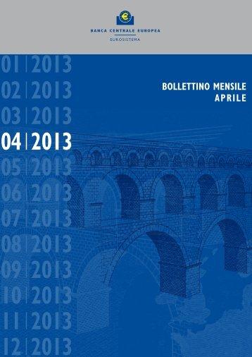 Bollettino mensile BCE aprile 2013 - Conferenza delle Regioni e ...