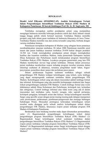 Analisis Kelembagaan Terkait dalam Pengembangan Intensifikasi ...