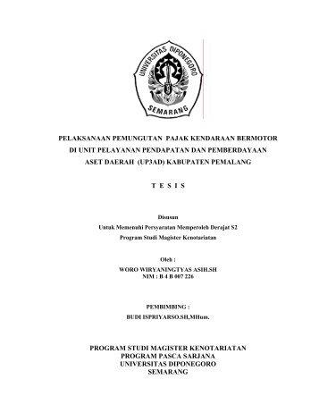 pelaksanaan pemungutan pajak kendaraan bermotor di unit ... - Undip