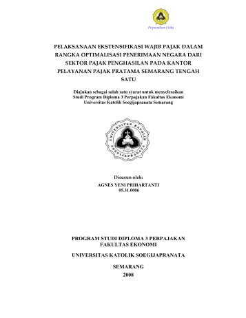pelaksanaan ekstensifikasi wajib pajak dalam rangka optimalisasi ...