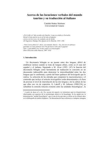 Acerca de las locuciones verbales del mundo taurino y su ... - Lear