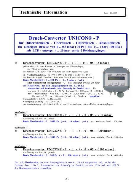 Druck-Converter UNICON® - P - Schriever-schulz de