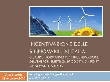 INCENTIVAZIONE DELLE RINNOVABILI IN ITALIA - Costante ...