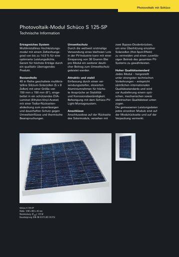 Photovoltaik-Modul Schüco S 125-SP