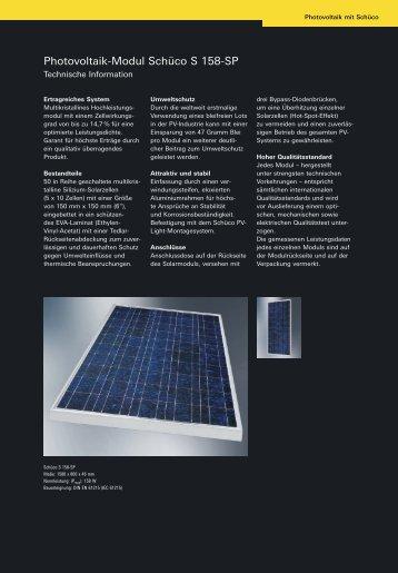 Photovoltaik-Modul Schüco S 158-SP