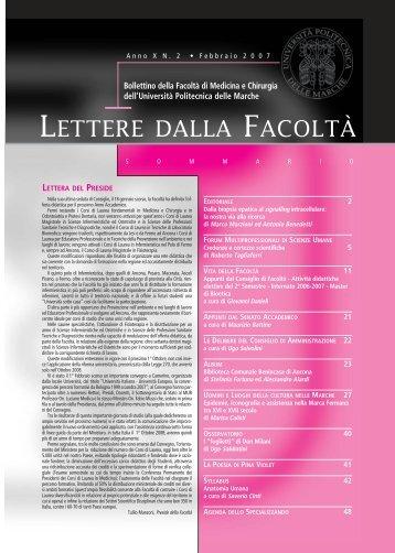 LETTERE 2007 02.pdf - Facoltà di Medicina e Chirurgia - Università ...