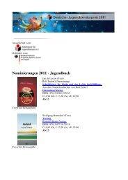Nominierungen 2011 - Jugendbuch
