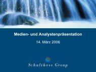 und Analystenpräsentation 14. März 2006 - Schulthess Group
