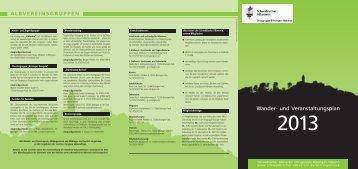Wanderplan 2013 - Schwäbischer Albverein