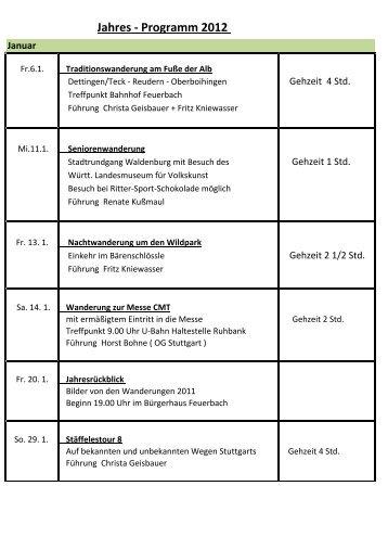 Jahres - Programm 2012 - Schwäbischer Albverein