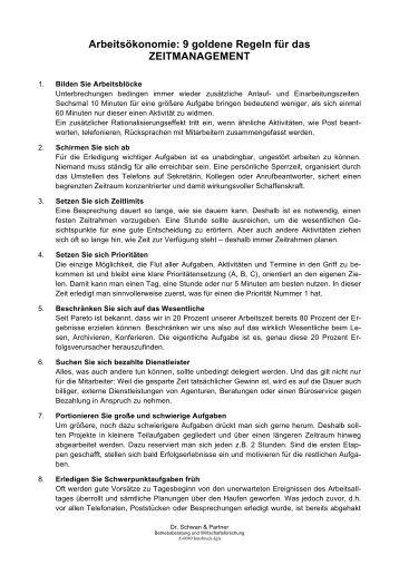 9 goldene Regeln für das ZEITMANAGEMENT - Dr. Schwan und ...