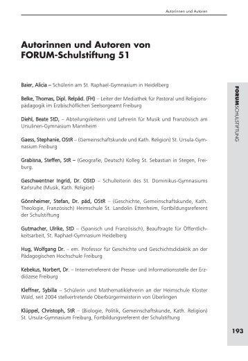 Forum Schulstiftung Heft 51.qxp - Schulstiftung der Erzdiözese ...